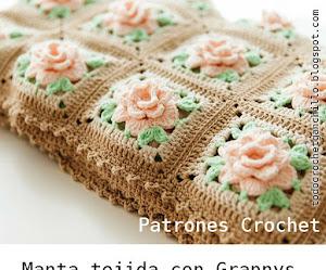 Patrones de Manta de Grannys florales / Crochet