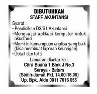 Lowongan Kerja Staff Akuntansi Seraya