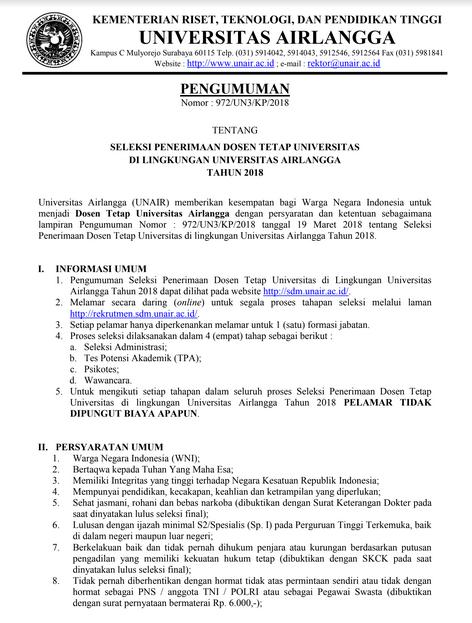Lowongan Kerja 68 Dosen Universitas Airlangga