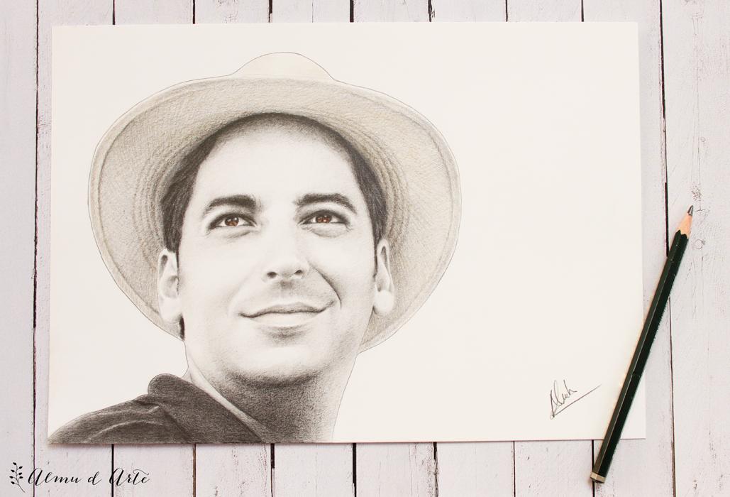 Retrato masculino dibujado a lápiz