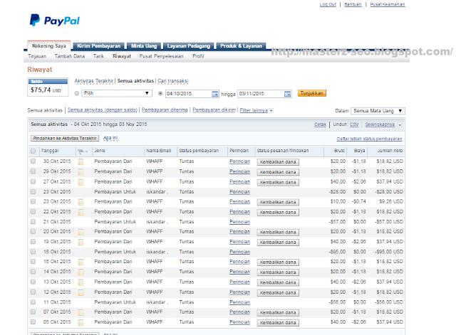 Srenshoot bukti pembayaran Whaff ke Paypal