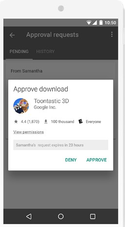 Google Family Link approval request