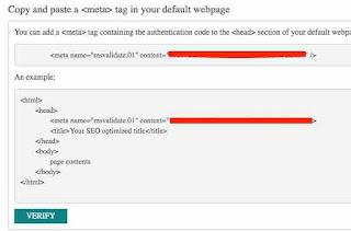 Verifikasi Blog Di Bing Webmaster