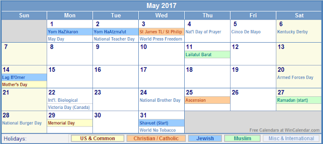May 2017 Holiday Calendar, 2017 Calendar Holidays, 2017 Calendar Holidays Print, 2017 Calendar Holidays Printable, 2017 Calendar Holidays Template, 2017 Calendar with Holidays, 2017 Calendar with Holidays Printable