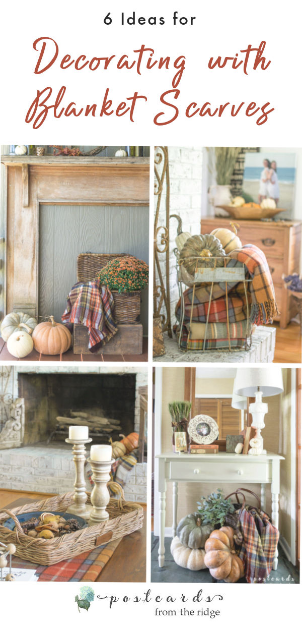 various fall decor with plaid blanket scarves
