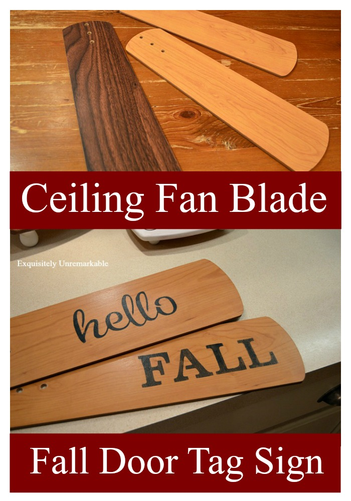 Ceiling fan blade, wooden door tag