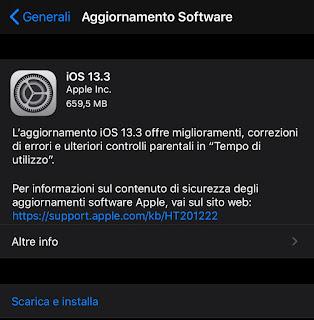 Apple ha rilasciato iOS 13.3 e iPadOS 13.3