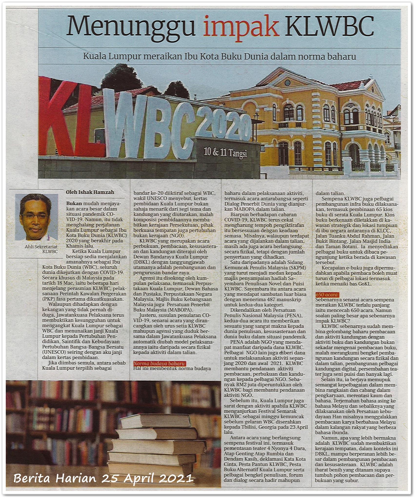 Menunggu impak KLWBC - Keratan akhbar Berita Harian 25 April 2021
