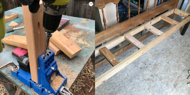 using a Kreg Jig pocket hole jig to drill pocket holes for making a headboard bench