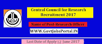 Central Council for Research Recruitment 2017– Research Officer