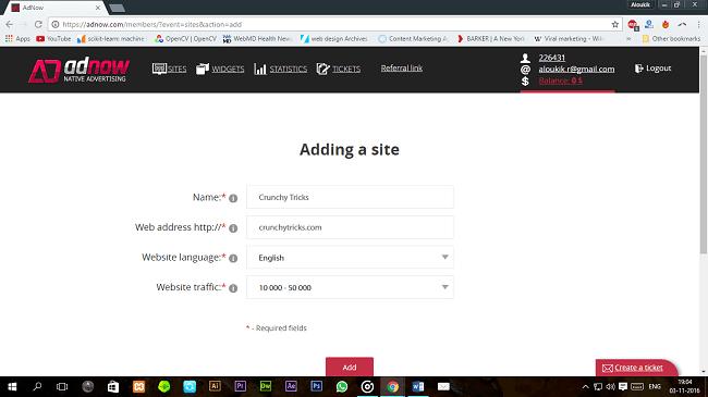 Adnow Add a Website