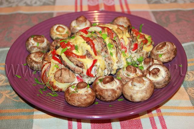 рецепт свинины с грибами и овощами в духовке