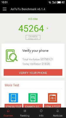 Test Antutu v6.1.4 Meizu m3 Note.Muestra una puntuación de 45264.