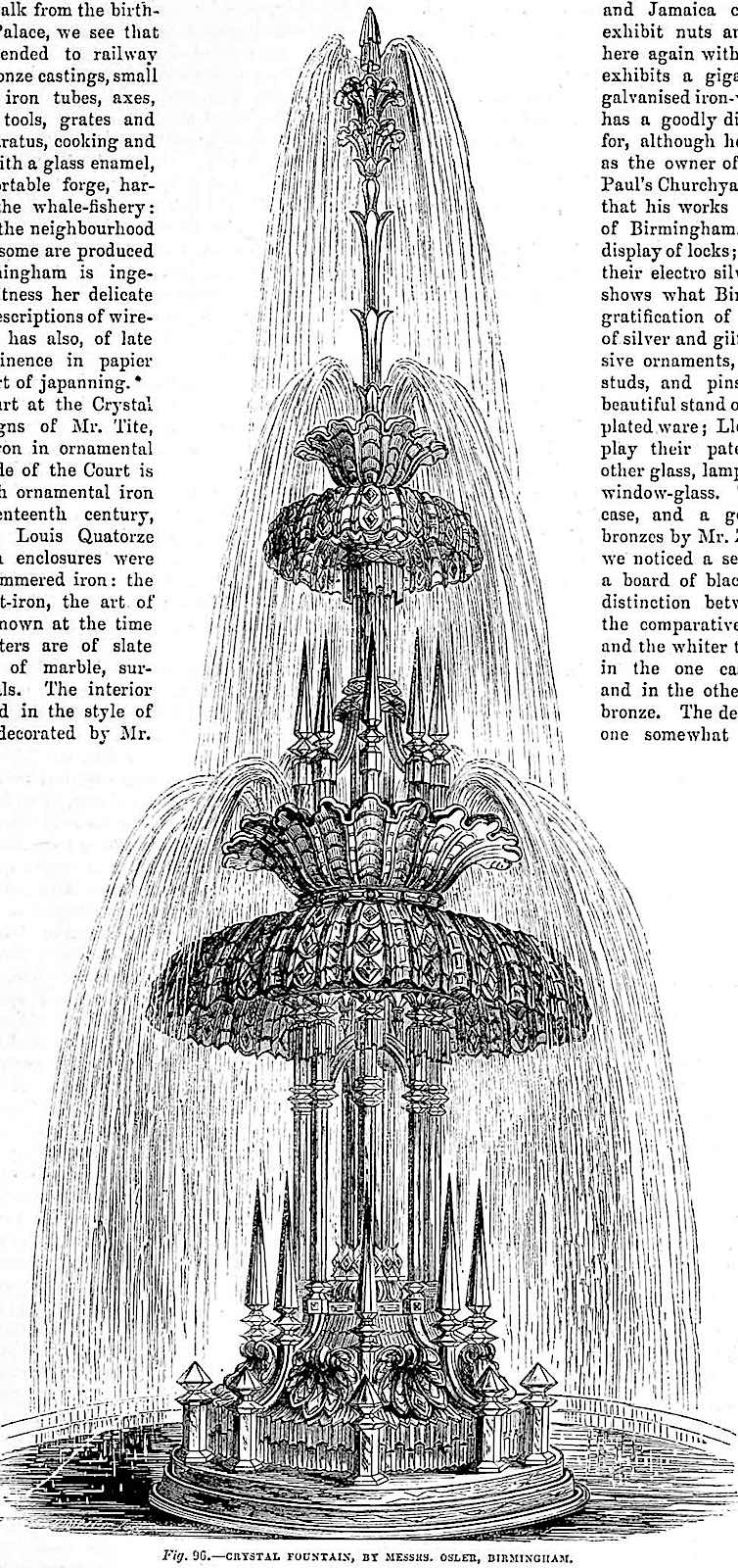 an illustration of a crystal fountain in The Crystal Palace at the 1851 Great Exhibition in London