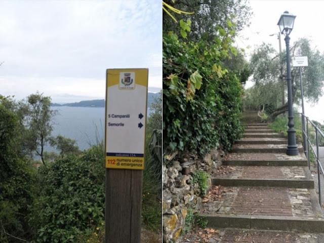 panorama e mulattiera sentiero 5 Campanili Zoagli