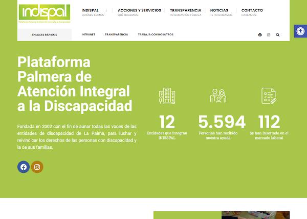 Indispal pone en marcha su página web gracias a la subvención de Vicepresidencia del Gobierno de Canarias
