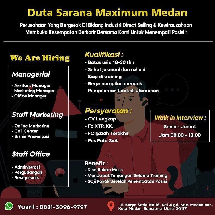 Lowongan Kerja Medan Juni 2021 Sma Smk D3 S1 Di Pt Duta Sarana Maximum