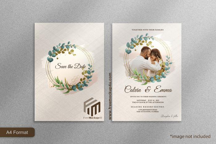 Elegant Wedding Invitation Template With Eucalyptu
