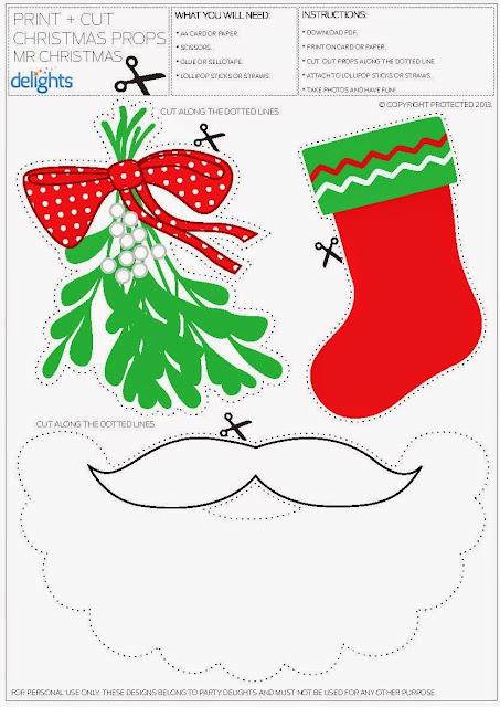 papa Noel barba y accesorios para imprimir