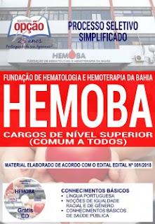 Apostila HEMOBA processo seletivo 2018 Cargos de Nível Superior