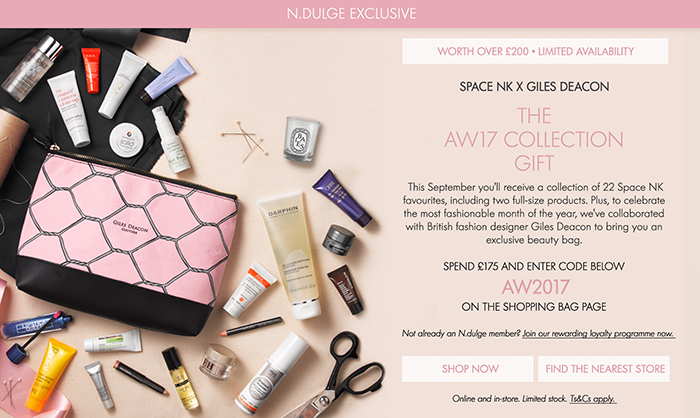 Space NK AW17 Beauty Gift Bag: Available Worldwide