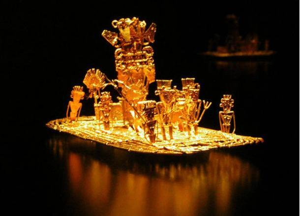 Zattera Muisca, rappresentazione dell'iniziazione della nuova Zipa nel lago di Guatavita, possibile fonte della leggenda di El Dorado. Fu trovata in una grotta di Pasca, Colombia, nel 1856, insieme a molti altri oggetti d'oro. Datato tra il 1200 e il 1500 a.C.