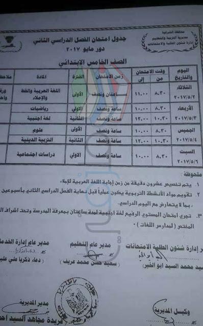 جدول امتحانات الصف الخامس الابتدائي 2017 الترم الأول محافظة الشرقية