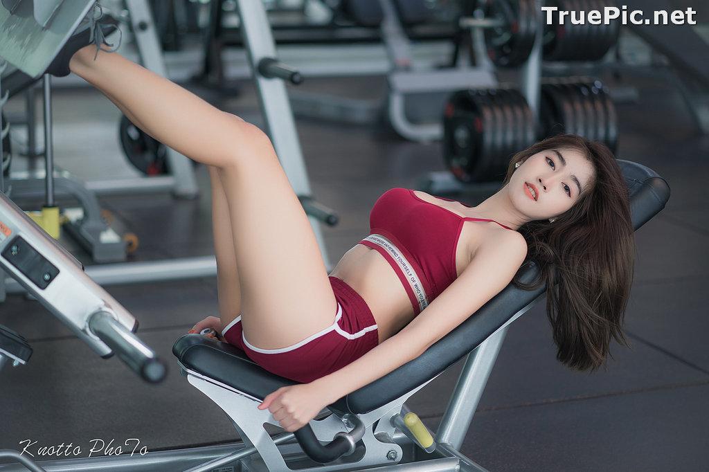 Image Thailand Hot Beauty Model - Nisa Khamarat - Red and Black Fitness Set - TruePic.net - Picture-2