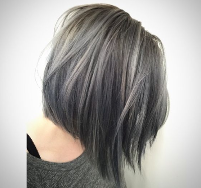 warna rambut pendek bob perak