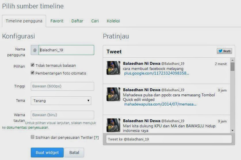 cara memasang widged twitter di blog