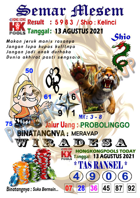 Syair Semar Mesem HK Malam Ini 13-Agt-2021