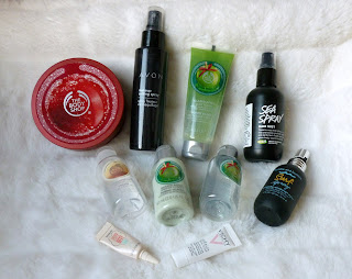 Beauty products mixed