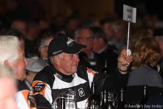 John Holt, John Holt Trust paid $3,800 for a shirt signed by the All Blacks and Magpies who played in a benefit rugby match for Jarrod Cunningham in 2003, then yielded the shirt to the second bidder for $3,700. The total $7,500 raised will go to Walk 2 D'Feet MND, a fundraiser walk to raise money for sufferers of motor neurone disease. The auction was held at the HBRFU Legends Dinner, in the Rodney Green Centennial Event Centre, before the match between the Hawke's Bay Magpies and Tasman Mokos, rugby at McLean Park, Napier. photograph