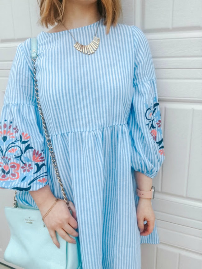 Embroidered Dress Necklace Outfit | Spring Style