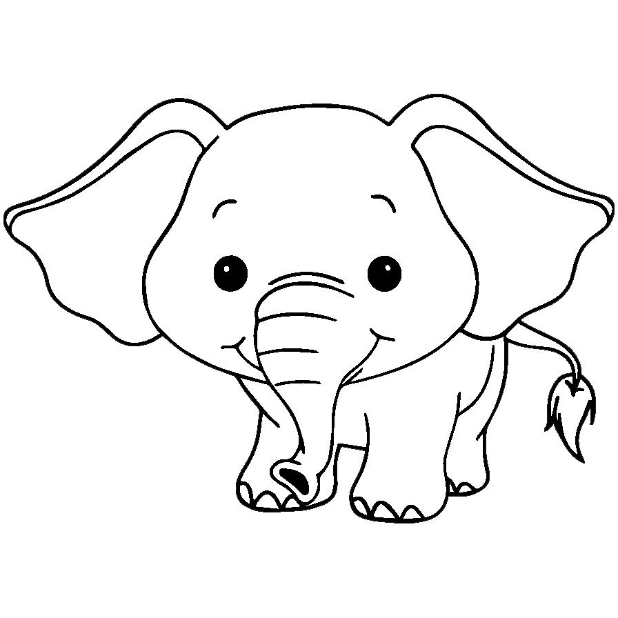 Mewarnai Gambar Hewan Anak Gajah Aneka Mewarnai