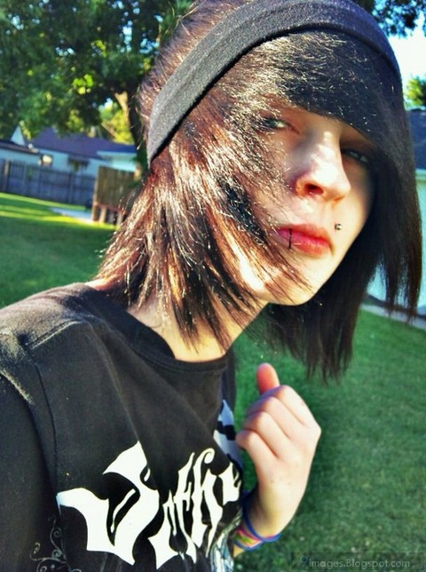 Cool Emo Boy Long Hairstyle Piercing