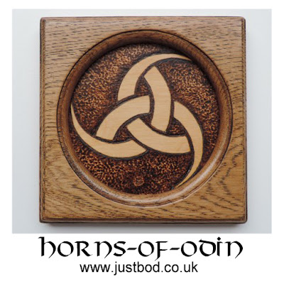 Horns of Odin wood plaque