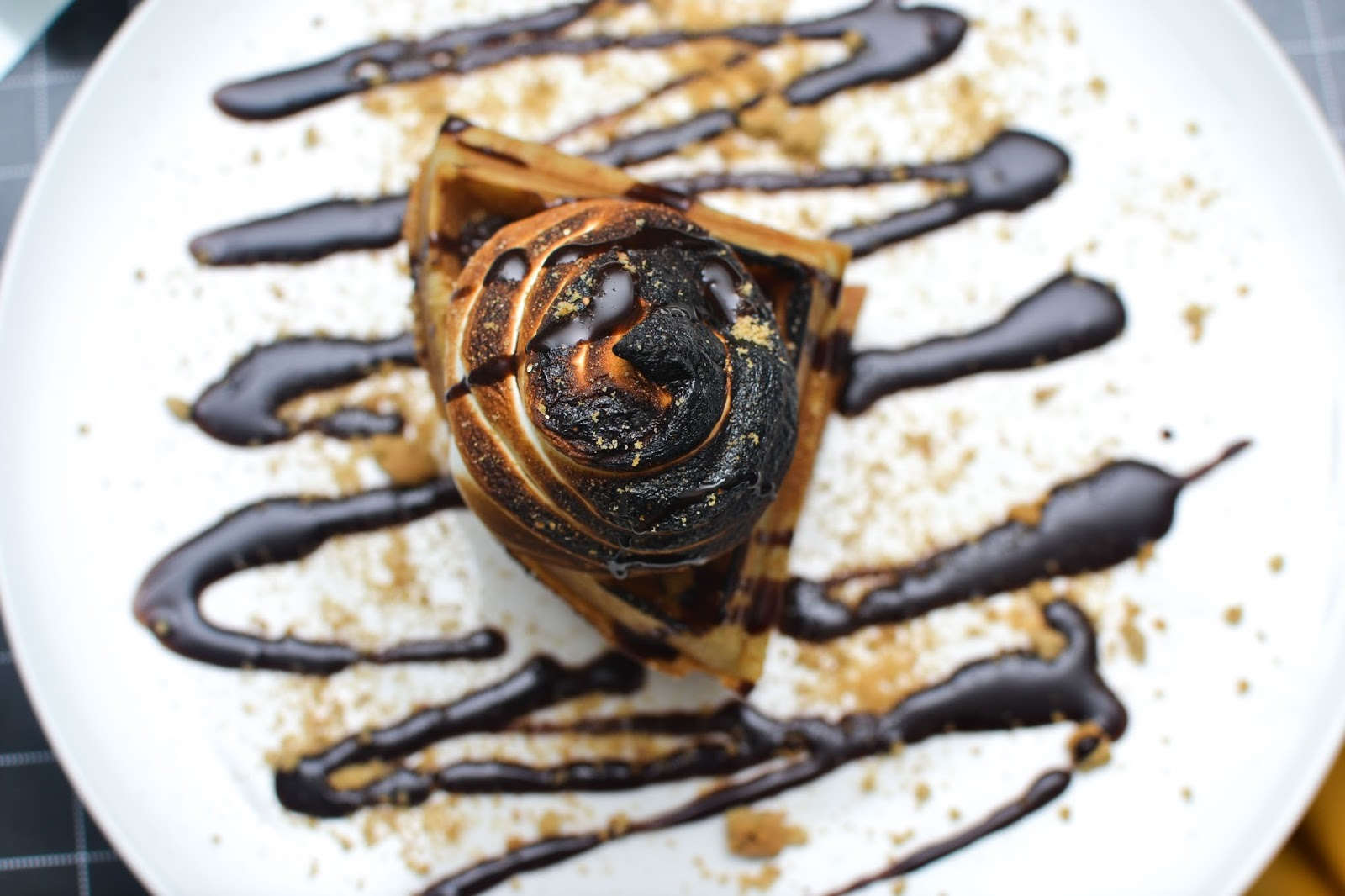 Waffle with Marshmallows & Chocolate sauce