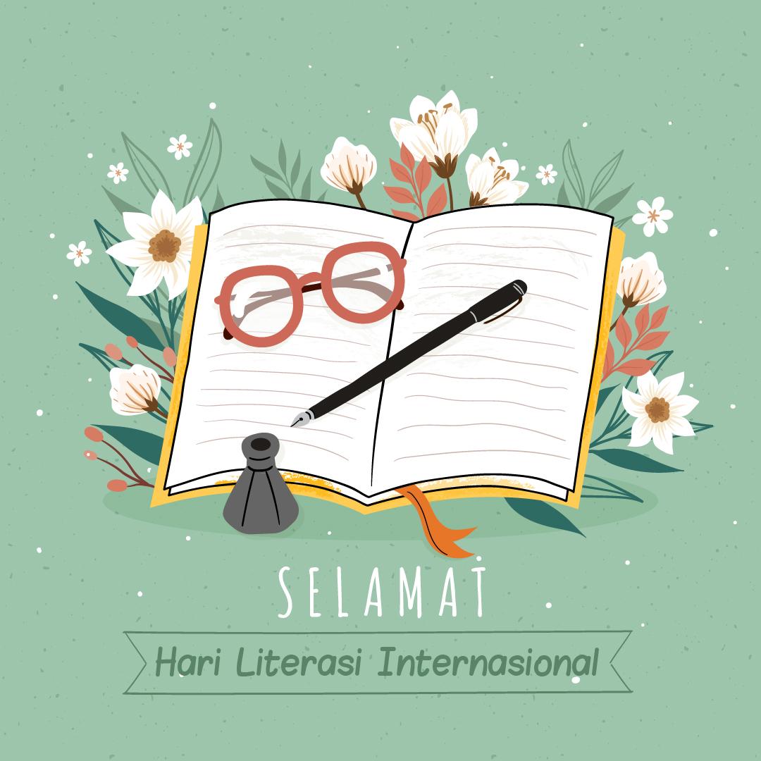 Poster Gambar Ucapan Selamat Hari Literasi Internasional - 08 September 2021