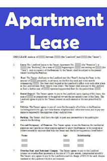 sample apartment lease agreement form in word