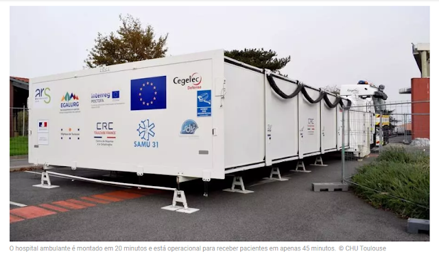 Covid-19: França cria hospital de campanha que pode ser montado em 20 minutos