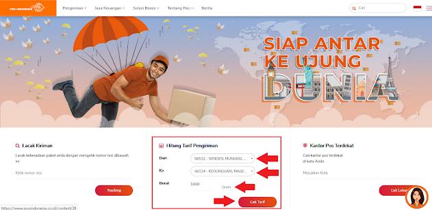 Cek ongkos kirim melalui website PT Pos Indonesia
