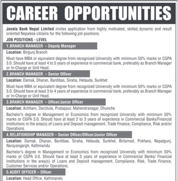 Vacancy Announcement In Janata Bank Nepal Ltd. Kathmandu, Nepal