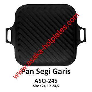 Hot Plate Pan Segi Garis ASQ - 245,Panggangan Sate-ayam-steak-jagung-ikan- Sosis Dll