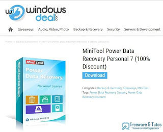 Giveaway : MiniTool Power Data Recovery Personal 7
