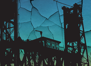 Silhouette of guard towers, with cracks running across the image