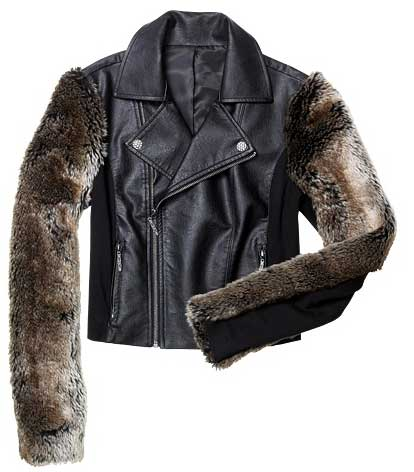 nicole richie impulse jacket, long-sleeve faux-fur faux-leather motorcycle