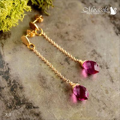 Miracolo, kwarc różowy, markiza, kolczyki z kroplą kwarcu, hot pink quartz dew drop briolette,  fuksjowa markiza, pink quartz faceted chandelier dew drops shape Briolette