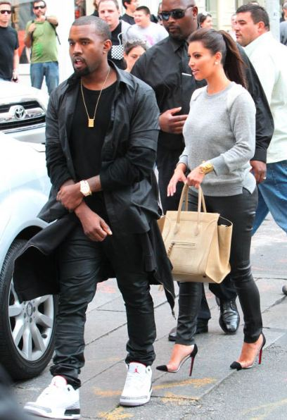 86aa5ea6ae3eb0 Check out Kanye West With Kim Kardashian in New York City Rockin a fresh  pair of Air Jordan White Cement 3 Sneakers
