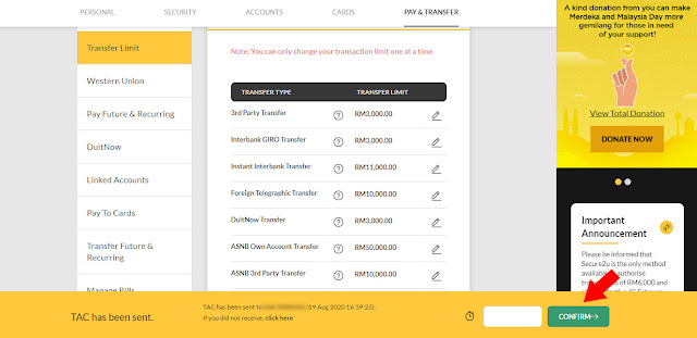 Cara Tukar Transaksi Limit Maybank2u Untuk Tahun 2020